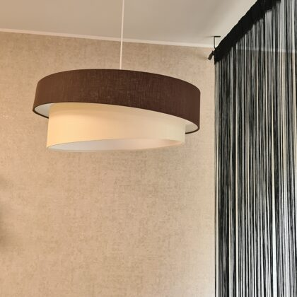 """2-līmeņu slīpā """"tortītes"""" formas griestu lampa, ar diametriem D60 D50cm"""