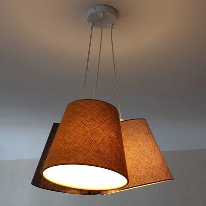 Pušķu lampa ar 3 vienāda izmēra abažuriem ar D17 D25cm