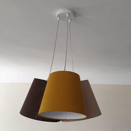 Pušķu lampa no lina audumiem