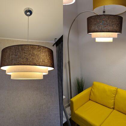"""Taisnās """"tortītes""""modeļa lampu komplekts : stāvlampa un griestu lampa"""
